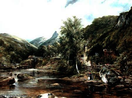 Pandy Mill, Betty-y-Coed de Frederick Waters Watts (1800-1870, United Kingdom)