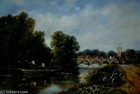 le pont au Henley-on-Thames de Frederick Waters (William) Watts (1800-1870, United Kingdom)