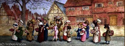 procession de seize  enfants  transport  Fleurs  de Kate Greenaway (1846-1901, United Kingdom) | Reproductions D'art Sur Toile | ArtsDot.com