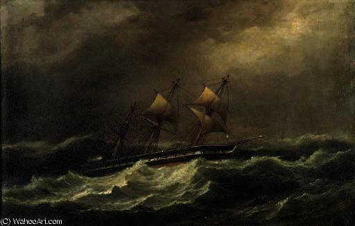 Une goélette dans une houle de Thomas Buttersworth (1768-1842, United Kingdom)