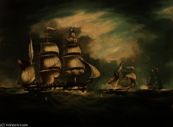 HMS Belle Poule, HMS Hermes, et Gipsy de Thomas Buttersworth (1768-1842, United Kingdom)