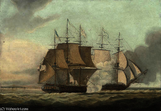 L action entre HMS Shannon et le USS Chesapeake, de Thomas Buttersworth (1768-1842, United Kingdom)
