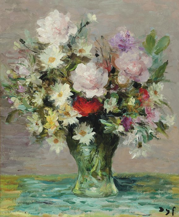 Roses et Papavers, (1970) de Marcel Dyf (1899-1985, France)