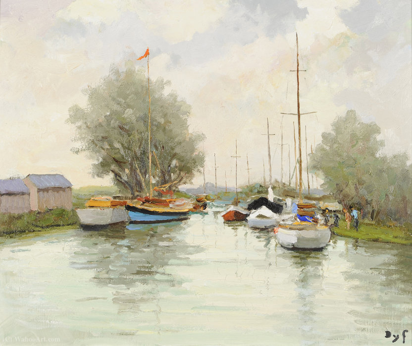 Yacht Club à Trouville de Marcel Dyf (1899-1985, France) | Reproductions D'art Sur Toile | ArtsDot.com
