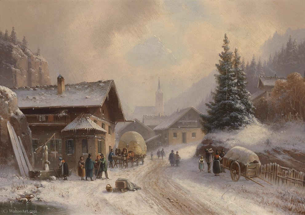 village route dans  Hivernal  de Anton Doll (1826-1887, Germany)