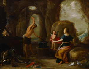 David Teniers The Elder - Venus visiter Vulcan Forge