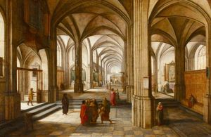 Hendrick Van The Younger Steen.. - Une eglise imaginary ou cathéd..