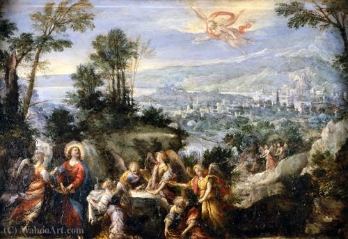 Christ servi par les anges de Mastelletta (1575-1655, Italy)