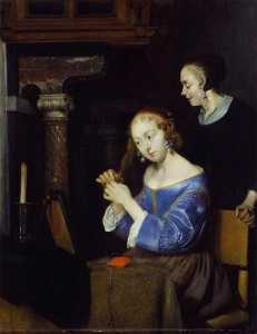 Gerard Ter Borch The Youn.. - une dame arrangement  ell..