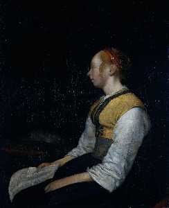 Gerard Ter Borch The Youn.. - Fille en costume de paysa..