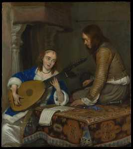 Gerard Ter Borch The Younger - une femme Jouant le Theorbo Luth et un Chevalier
