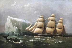 Richard Brydges Beechey - hms scout passing a iceberg 4   marcher  1875