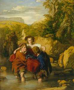 William Mulready The Younger - le gué ( -Crossing le Ford- )