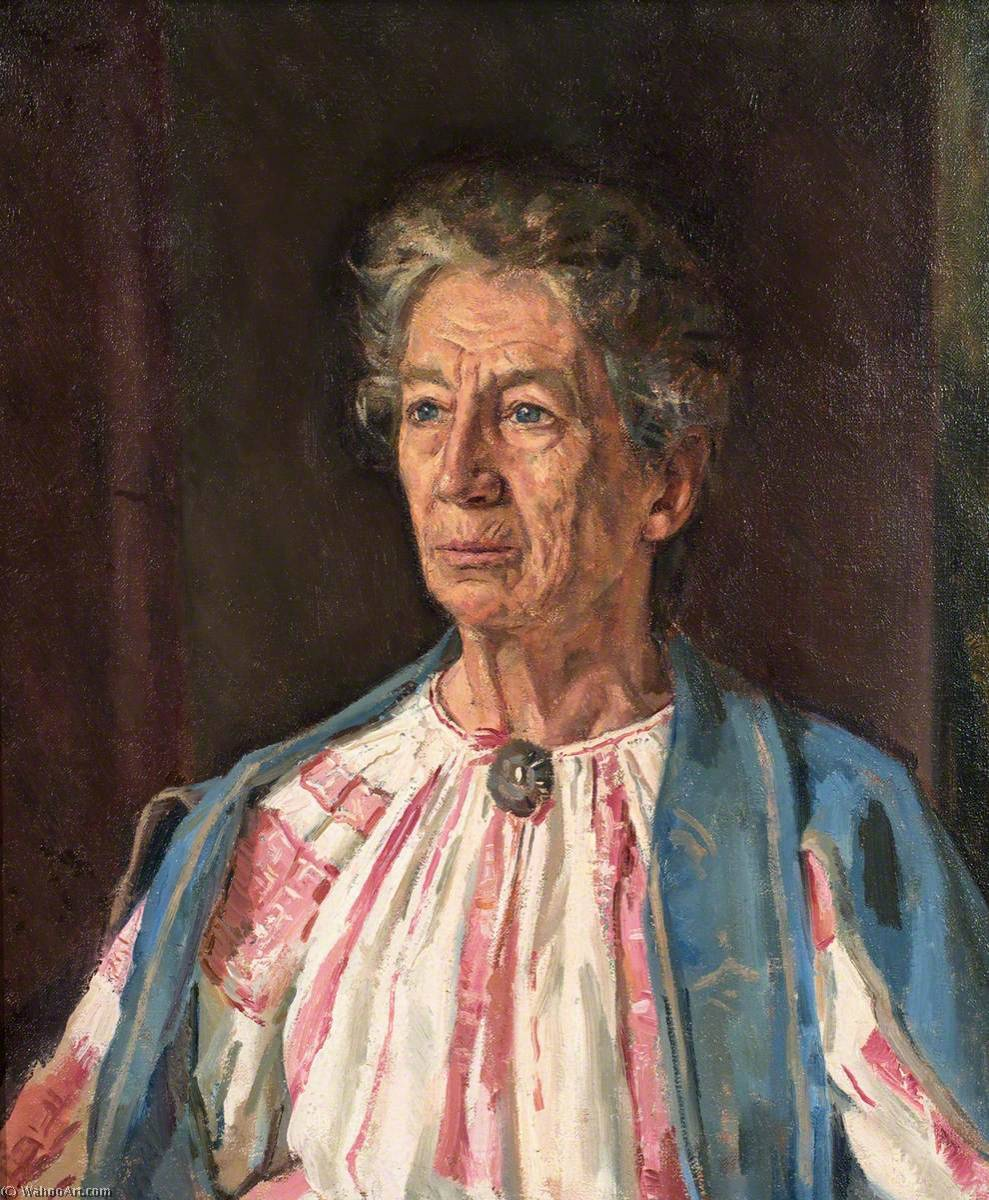 vieille femme dans un cardigan bleu de Ivor Williams (1908-1982, United Kingdom) | Reproduction Peinture | ArtsDot.com