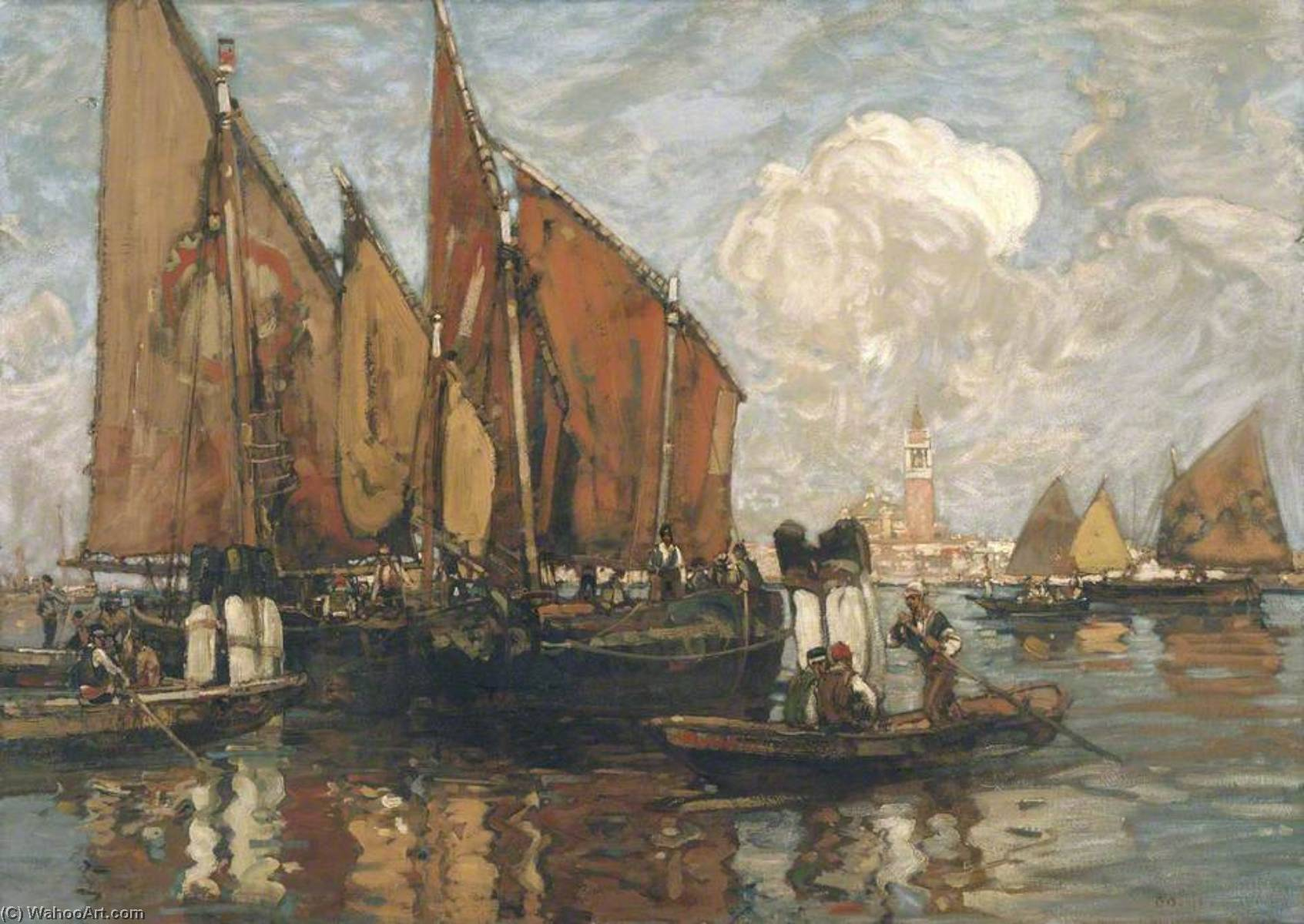 venice st Mark`s de l Lagon, 1900 de Frank William Brangwyn (1867-1956, Belgium) | Reproduction Peinture | ArtsDot.com