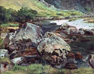 Frederick William Hayes - Rochers près de aberglasl..