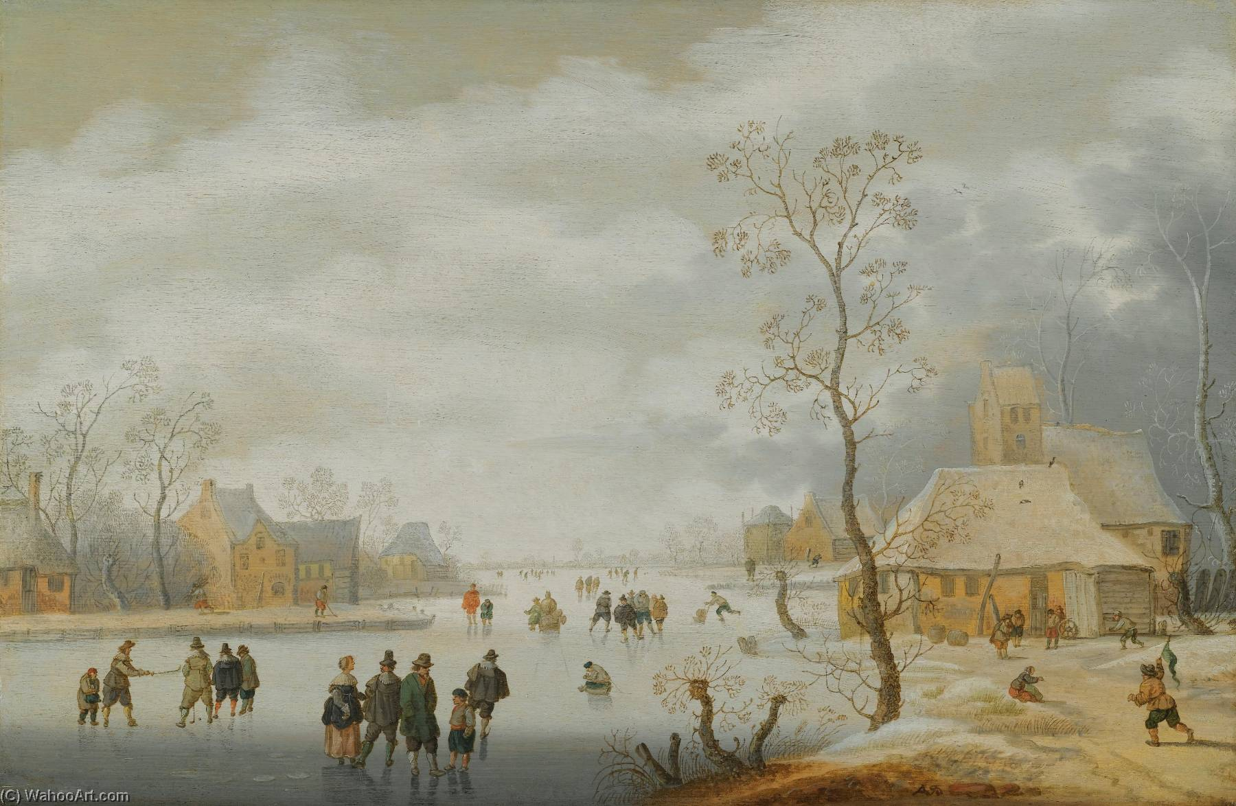 a paysage d`hiver avec sihouettes patinage sur une rivière gelée à côté un village de Anthonie Verstraelen (1594-1641) | Reproductions De Qualité Musée Anthonie Verstraelen | ArtsDot.com