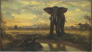 Alexandre Gabriel Decamps - TIGRE ET ELEPHANT A LA SO..