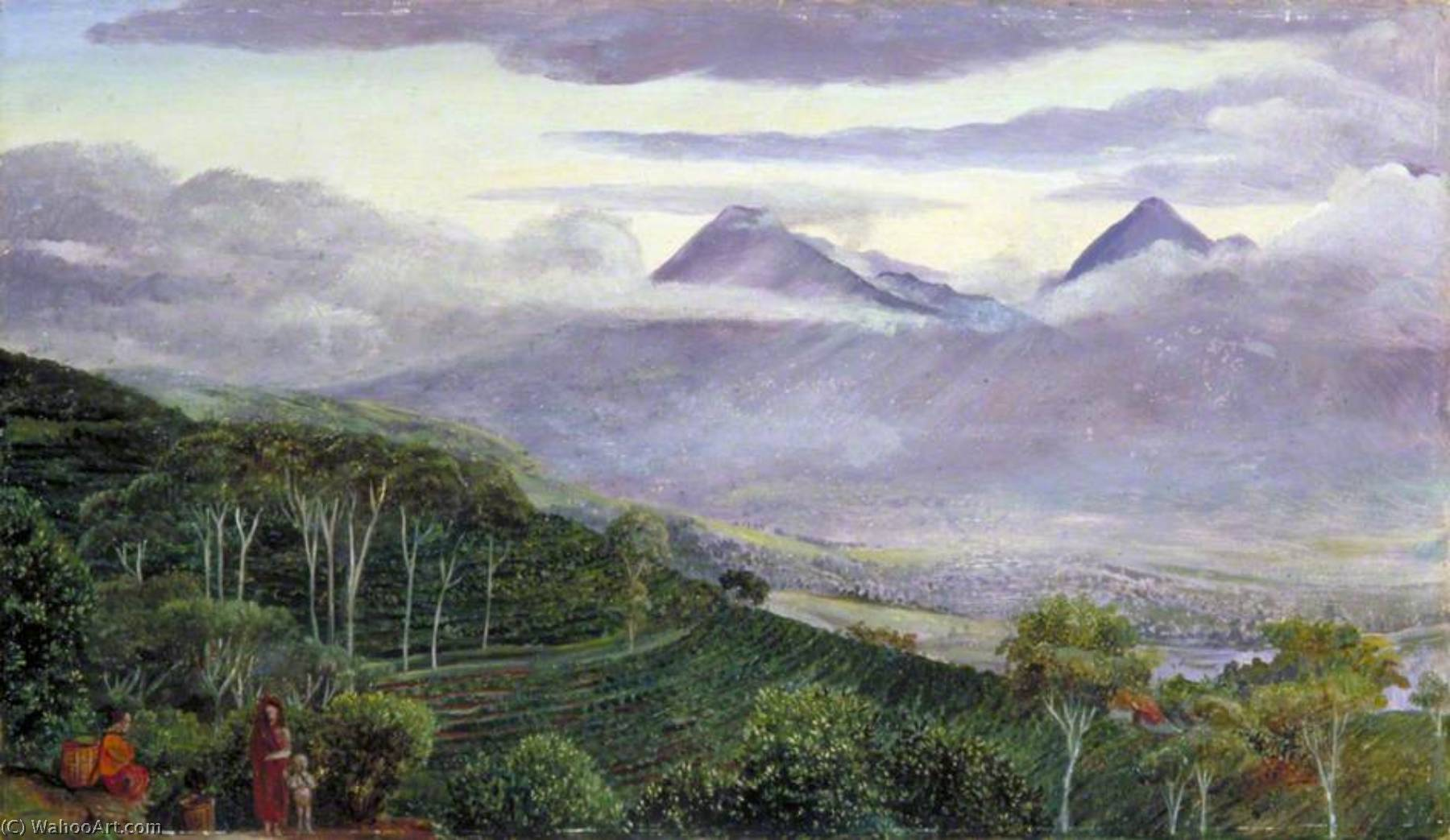 the papandayang Volcan , La java , Vu de Grimston de m Hölle`s plantations de thé, 1876 de Marianne North (1830-1890, United Kingdom) | Reproductions D'art De Musée | ArtsDot.com