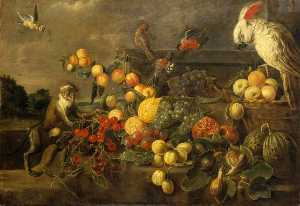 Adriaen Van Utrecht - Nature morte aux fruits w..